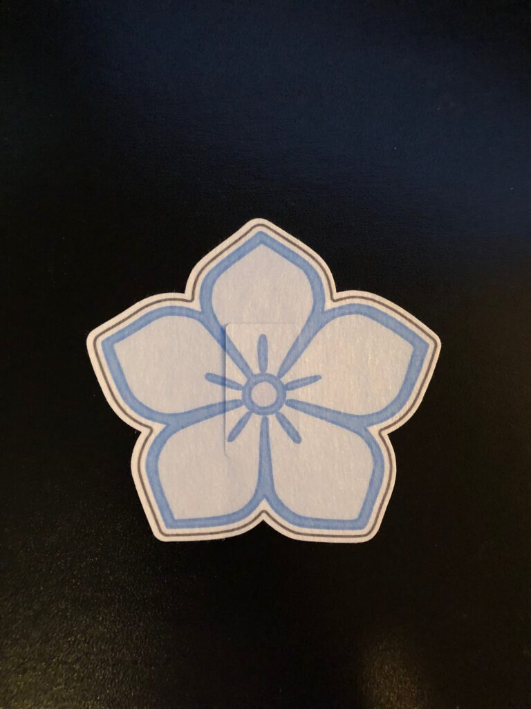 Flower Designed precut adhesive patch to secure all diabetic devices