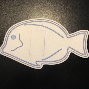 Blue Fish Designed precut adhesive patch to secure all diabetic devices